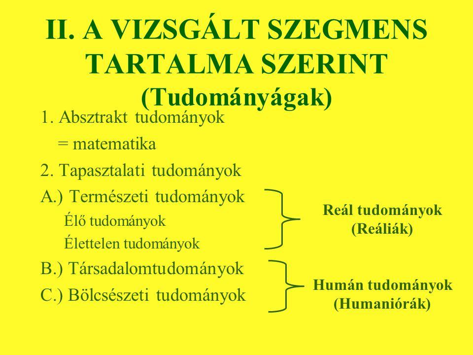 II. A VIZSGÁLT SZEGMENS TARTALMA SZERINT (Tudományágak) 1.