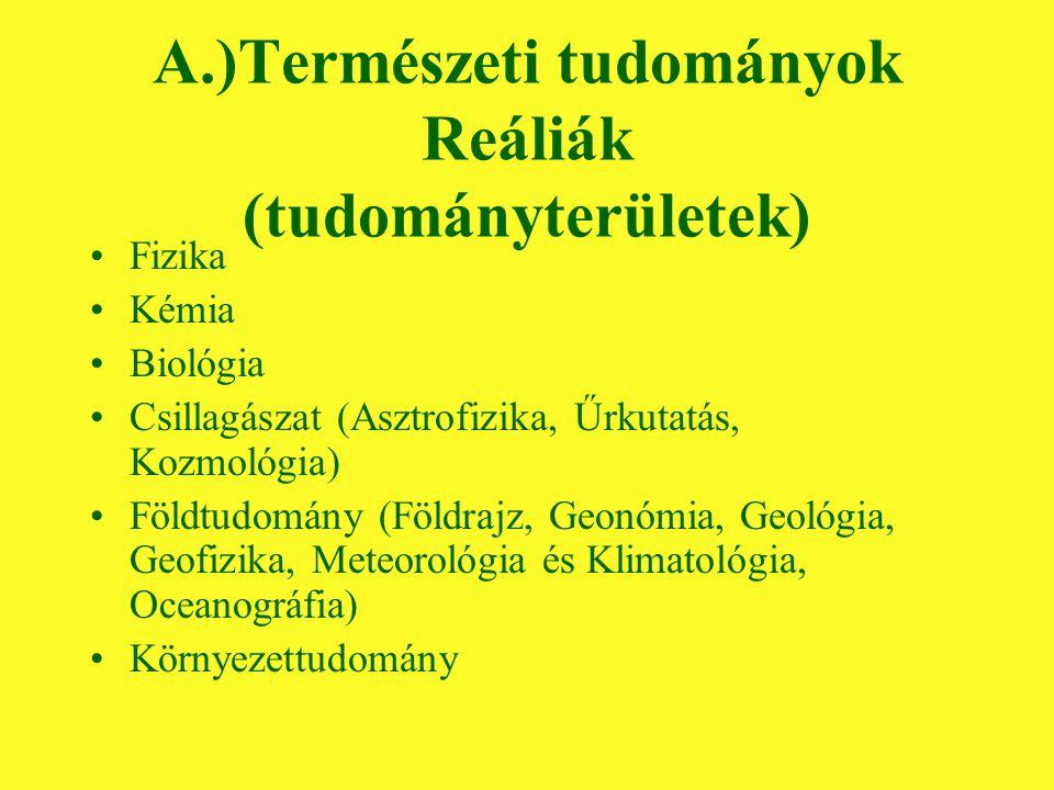 A.)Természeti tudományok Reáliák (tudományterületek) Fizika Kémia Biológia Csillagászat (Asztrofizika, Űrkutatás, Kozmológia) Földtudomány (Földrajz, Geonómia, Geológia, Geofizika, Meteorológia és Klimatológia, Oceanográfia) Környezettudomány