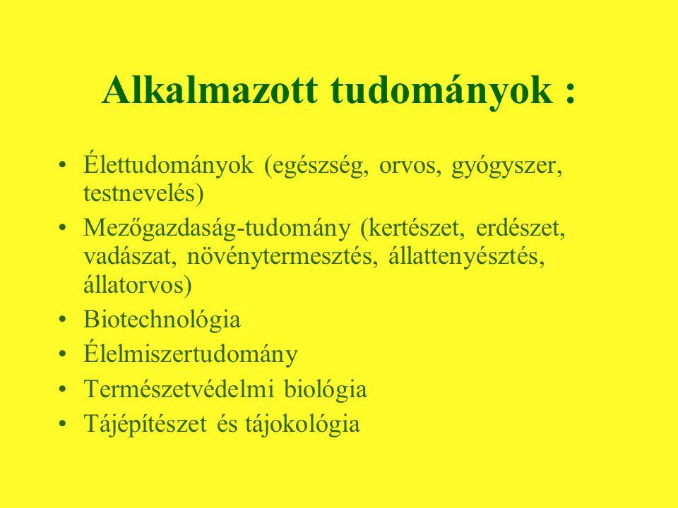 Alkalmazott tudományok : Élettudományok (egészség, orvos, gyógyszer, testnevelés) Mezőgazdaság-tudomány (kertészet, erdészet, vadászat, növénytermesztés, állattenyésztés, állatorvos) Biotechnológia Élelmiszertudomány Természetvédelmi biológia Tájépítészet és tájokológia