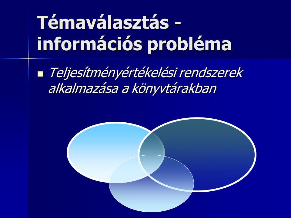 Témaválasztás - információs probléma Teljesítményértékelési rendszerek alkalmazása a könyvtárakban Teljesítményértékelési rendszerek alkalmazása a kön
