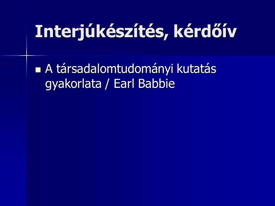 Interjúkészítés, kérdőív A társadalomtudományi kutatás gyakorlata / Earl Babbie A társadalomtudományi kutatás gyakorlata / Earl Babbie