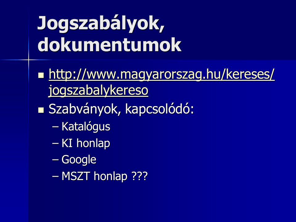 Jogszabályok, dokumentumok http://www.magyarorszag.hu/kereses/ jogszabalykereso http://www.magyarorszag.hu/kereses/ jogszabalykereso http://www.magyar