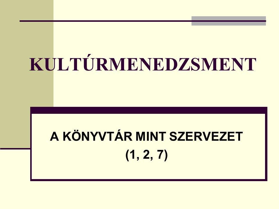 KULTÚRMENEDZSMENT A KÖNYVTÁR MINT SZERVEZET (1, 2, 7)