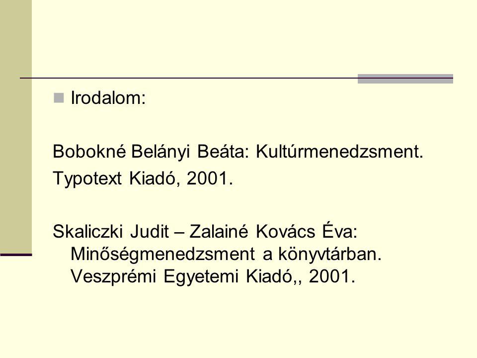Irodalom: Bobokné Belányi Beáta: Kultúrmenedzsment. Typotext Kiadó, 2001. Skaliczki Judit – Zalainé Kovács Éva: Minőségmenedzsment a könyvtárban. Vesz