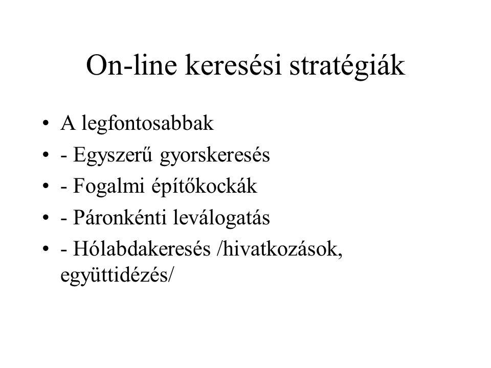 On-line keresési stratégiák A legfontosabbak - Egyszerű gyorskeresés - Fogalmi építőkockák - Páronkénti leválogatás - Hólabdakeresés /hivatkozások, eg