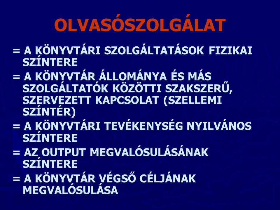 OLVASÓSZOLGÁLAT = A KÖNYVTÁRI SZOLGÁLTATÁSOK FIZIKAI SZÍNTERE = A KÖNYVTÁR ÁLLOMÁNYA ÉS MÁS SZOLGÁLTATÓK KÖZÖTTI SZAKSZERŰ, SZERVEZETT KAPCSOLAT (SZEL