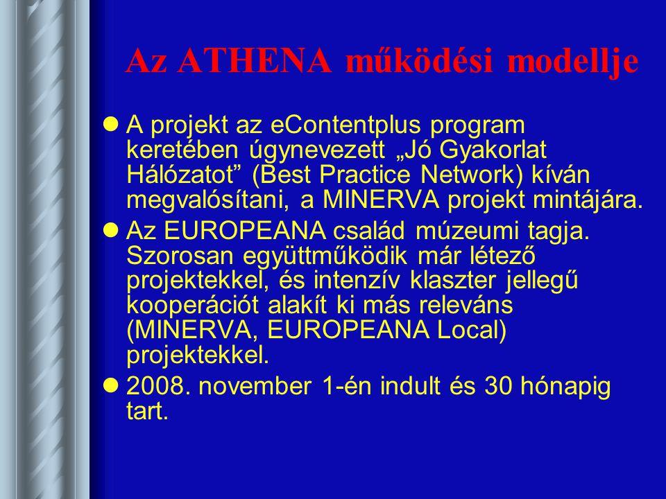 """Az ATHENA működési modellje A projekt az eContentplus program keretében úgynevezett """"Jó Gyakorlat Hálózatot (Best Practice Network) kíván megvalósítani, a MINERVA projekt mintájára."""