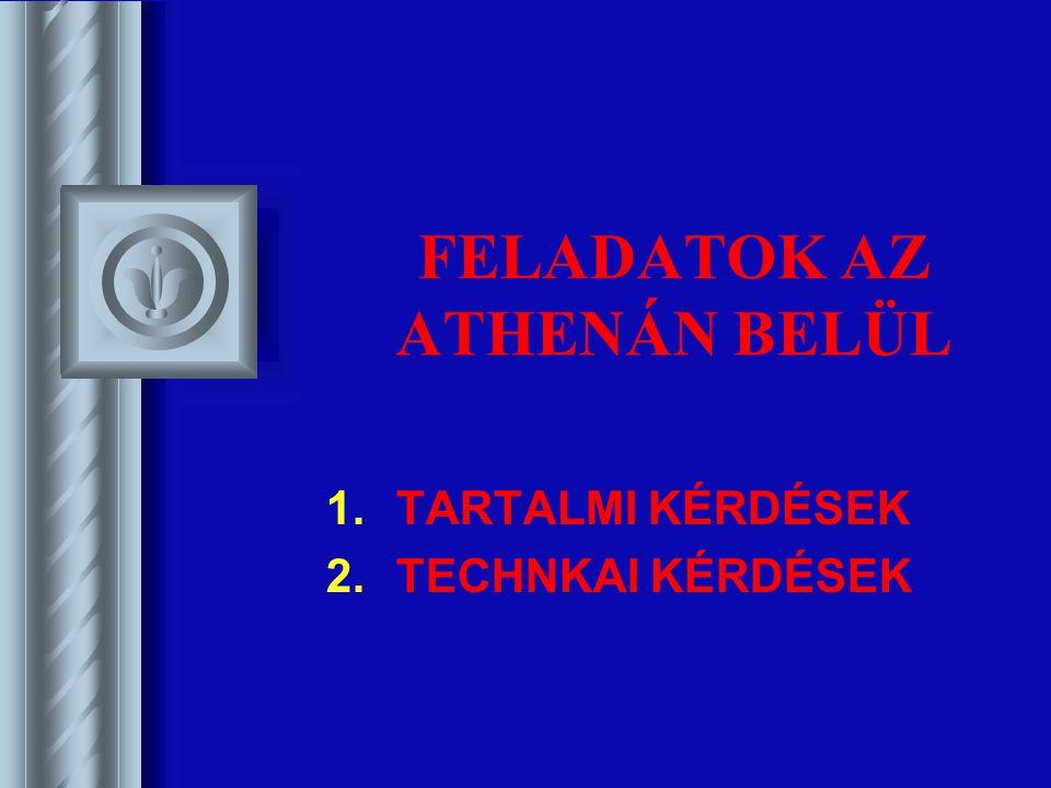 FELADATOK AZ ATHENÁN BELÜL 1.TARTALMI KÉRDÉSEK 2.TECHNKAI KÉRDÉSEK