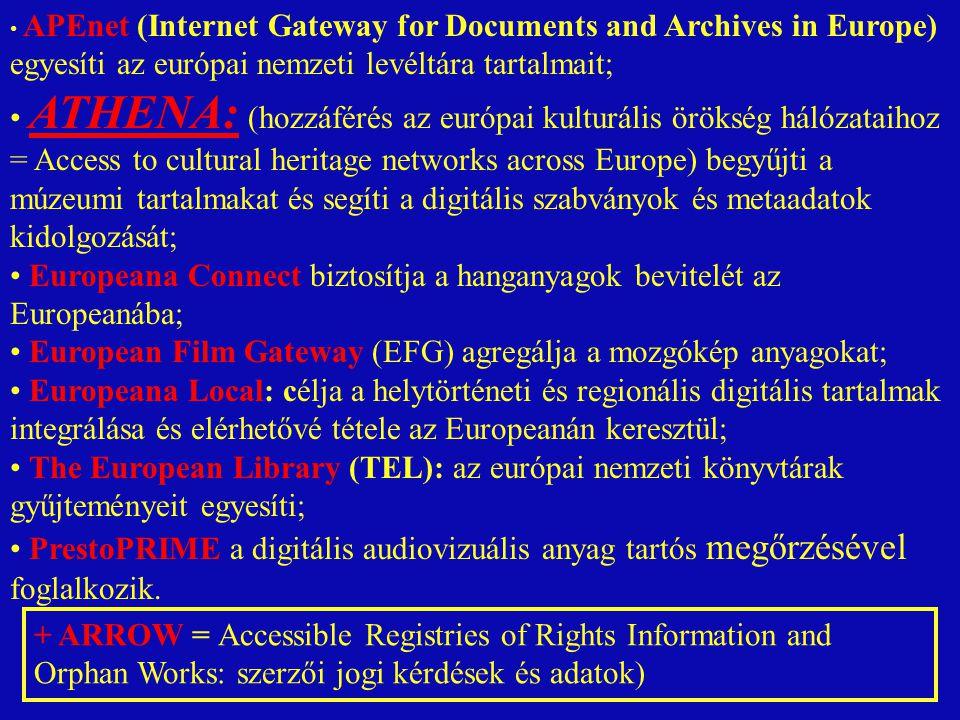 APEnet (Internet Gateway for Documents and Archives in Europe) egyesíti az európai nemzeti levéltára tartalmait; ATHENA: (hozzáférés az európai kulturális örökség hálózataihoz = Access to cultural heritage networks across Europe) begyűjti a múzeumi tartalmakat és segíti a digitális szabványok és metaadatok kidolgozását; Europeana Connect biztosítja a hanganyagok bevitelét az Europeanába; European Film Gateway (EFG) agregálja a mozgókép anyagokat; Europeana Local: célja a helytörténeti és regionális digitális tartalmak integrálása és elérhetővé tétele az Europeanán keresztül; The European Library (TEL): az európai nemzeti könyvtárak gyűjteményeit egyesíti; PrestoPRIME a digitális audiovizuális anyag tartós megőrzésével foglalkozik.