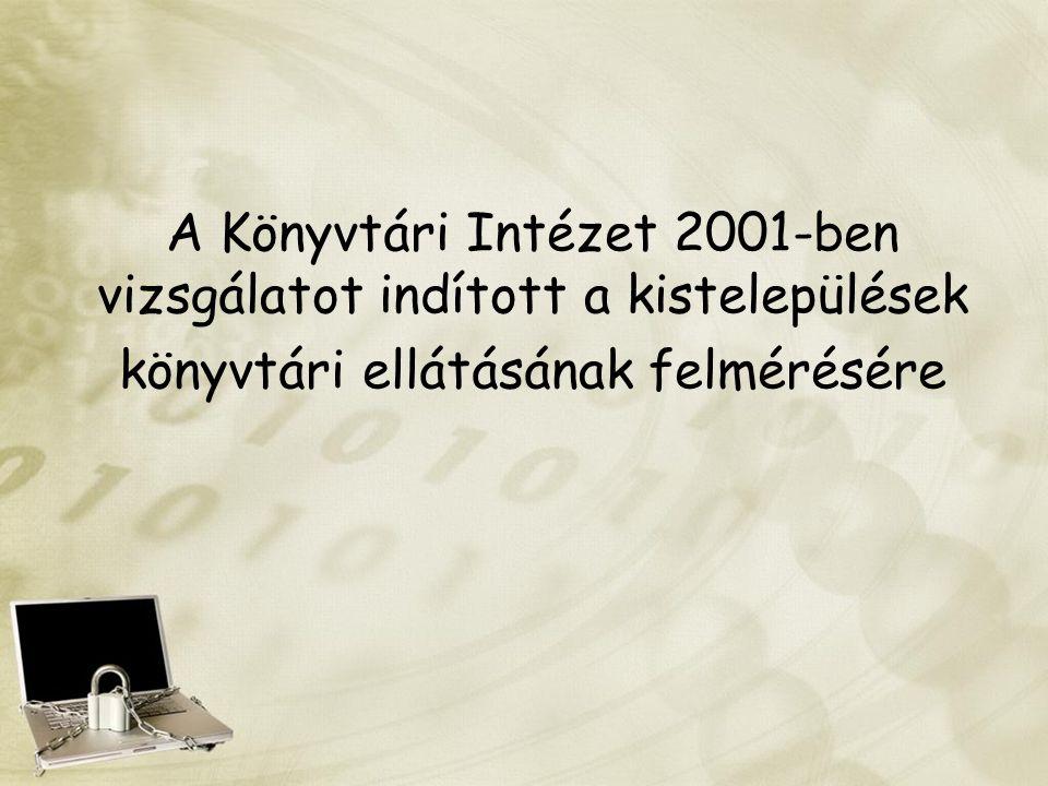 A Könyvtári Intézet 2001-ben vizsgálatot indított a kistelepülések könyvtári ellátásának felmérésére