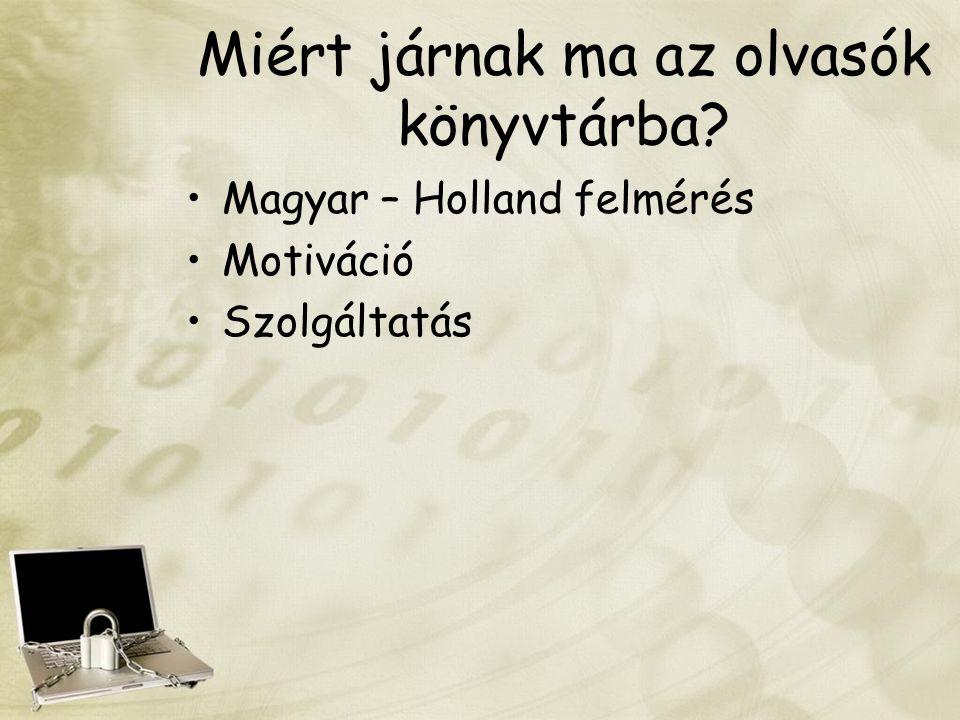 Miért járnak ma az olvasók könyvtárba? Magyar – Holland felmérés Motiváció Szolgáltatás