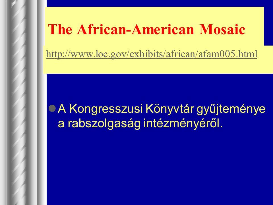 The African-American Mosaic A Kongresszusi Könyvtár gyűjteménye a rabszolgaság intézményéről. http://www.loc.gov/exhibits/african/afam005.html