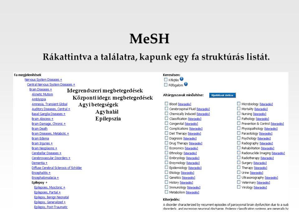 MeSH Rákattintva a találatra, kapunk egy fa struktúrás listát. Idegrendszeri megbetegedések Központi idegr. megbetegedések Agyi betegségek Agyhalál Ep