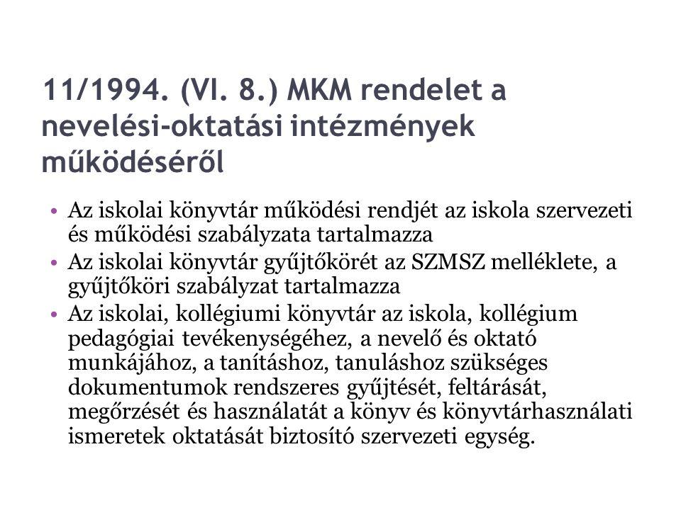 11/1994. (VI. 8.) MKM rendelet a nevelési-oktatási intézmények működéséről Az iskolai könyvtár működési rendjét az iskola szervezeti és működési szabá