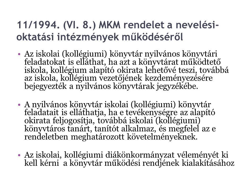 11/1994. (VI. 8.) MKM rendelet a nevelési- oktatási intézmények működéséről Az iskolai (kollégiumi) könyvtár nyilvános könyvtári feladatokat is elláth