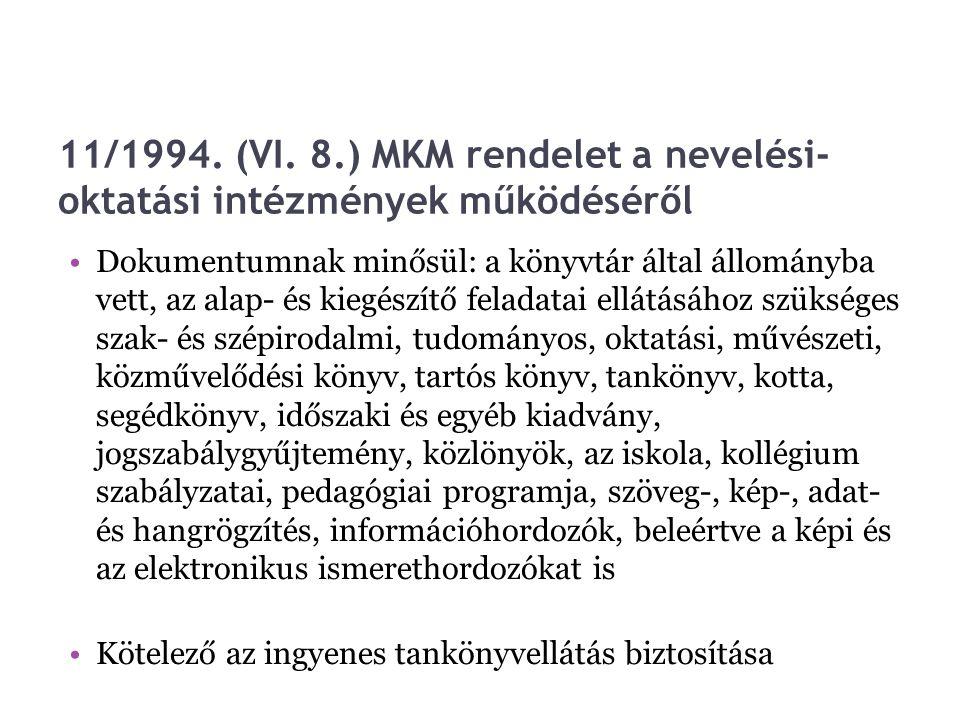 11/1994. (VI. 8.) MKM rendelet a nevelési- oktatási intézmények működéséről Dokumentumnak minősül: a könyvtár által állományba vett, az alap- és kiegé