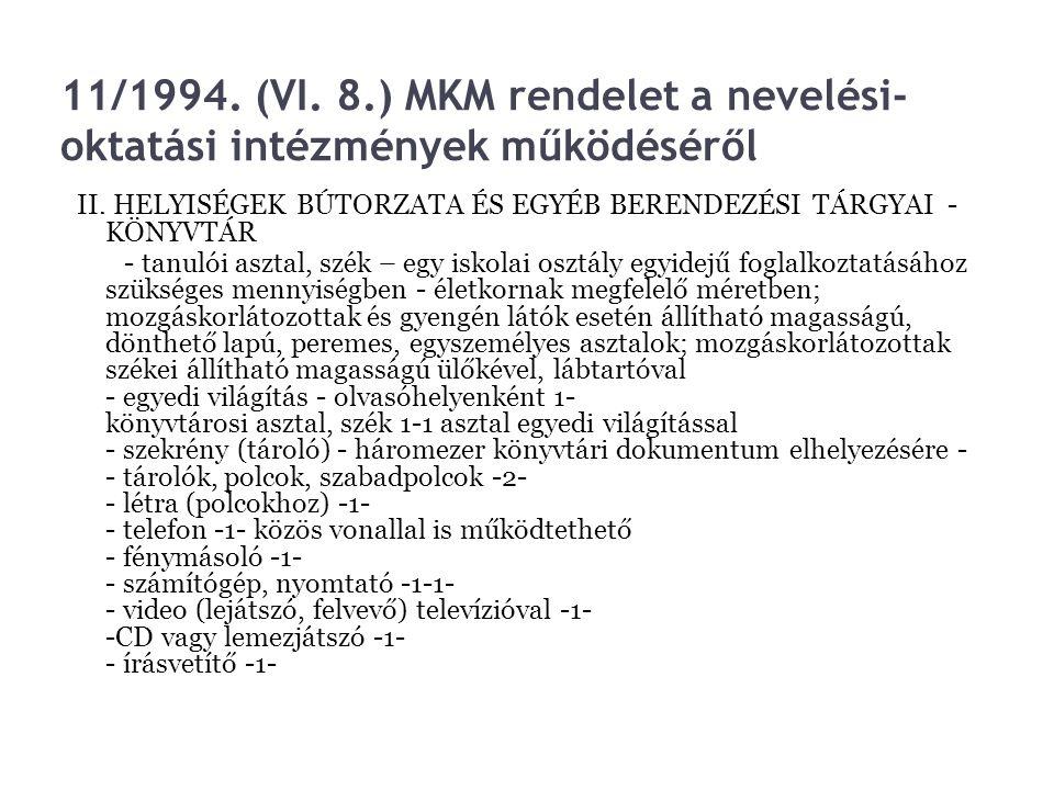 11/1994. (VI. 8.) MKM rendelet a nevelési- oktatási intézmények működéséről II. HELYISÉGEK BÚTORZATA ÉS EGYÉB BERENDEZÉSI TÁRGYAI - KÖNYVTÁR - tanulói