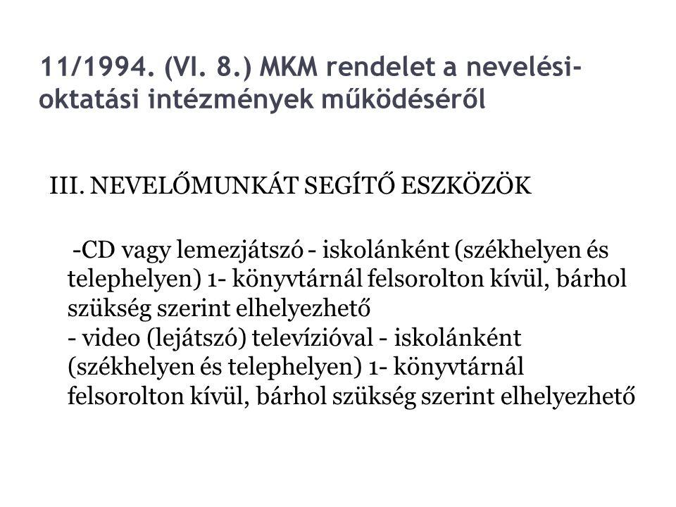 11/1994. (VI. 8.) MKM rendelet a nevelési- oktatási intézmények működéséről III. NEVELŐMUNKÁT SEGÍTŐ ESZKÖZÖK -CD vagy lemezjátszó - iskolánként (szék