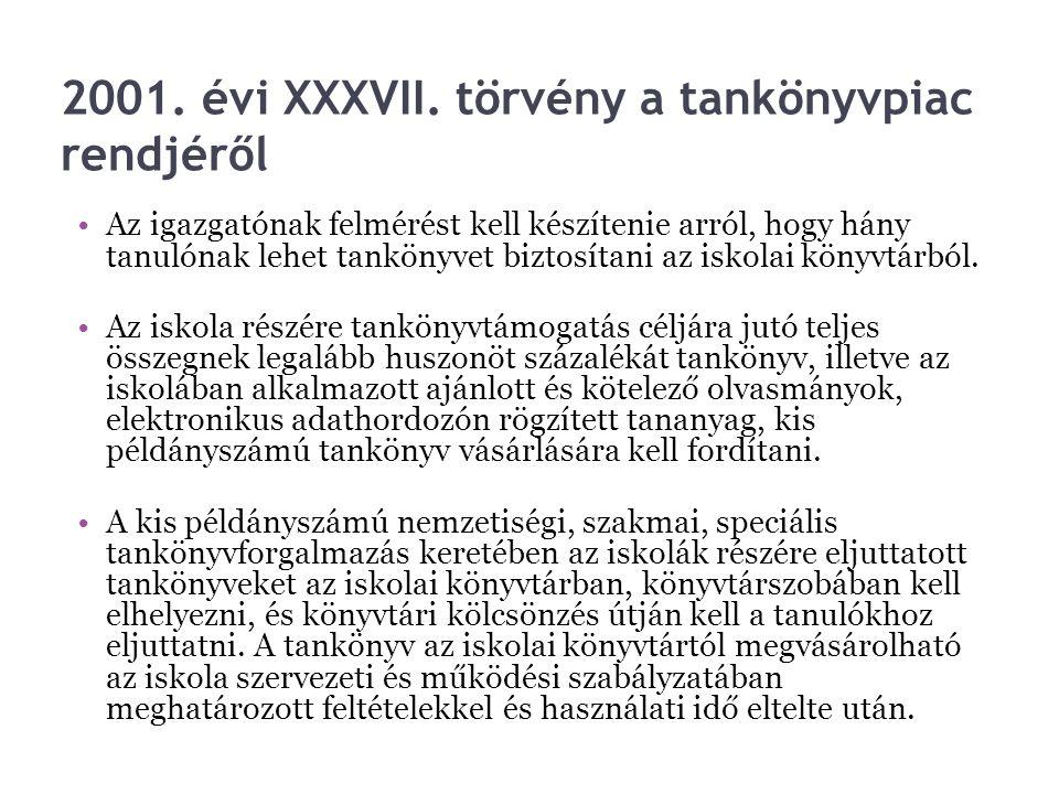 2001. évi XXXVII. törvény a tankönyvpiac rendjéről Az igazgatónak felmérést kell készítenie arról, hogy hány tanulónak lehet tankönyvet biztosítani az