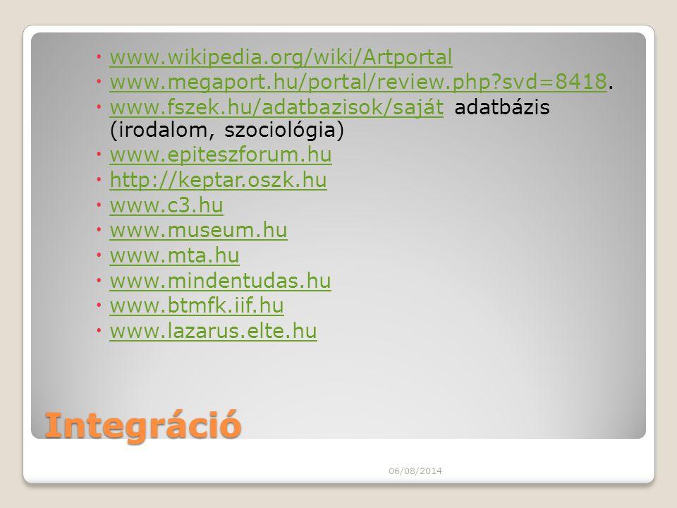 Integráció  www.wikipedia.org/wiki/Artportal www.wikipedia.org/wiki/Artportal  www.megaport.hu/portal/review.php?svd=8418. www.megaport.hu/portal/re