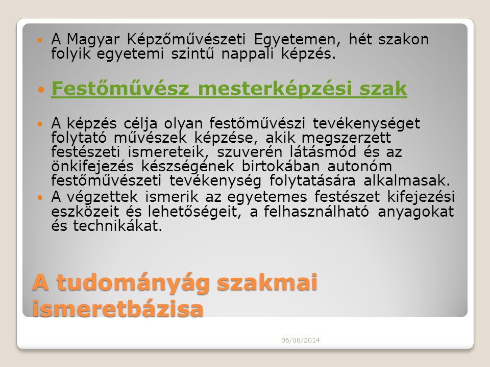 A tudományág szakmai ismeretbázisa A Magyar Képzőművészeti Egyetemen, hét szakon folyik egyetemi szintű nappali képzés. Festőművész mesterképzési szak