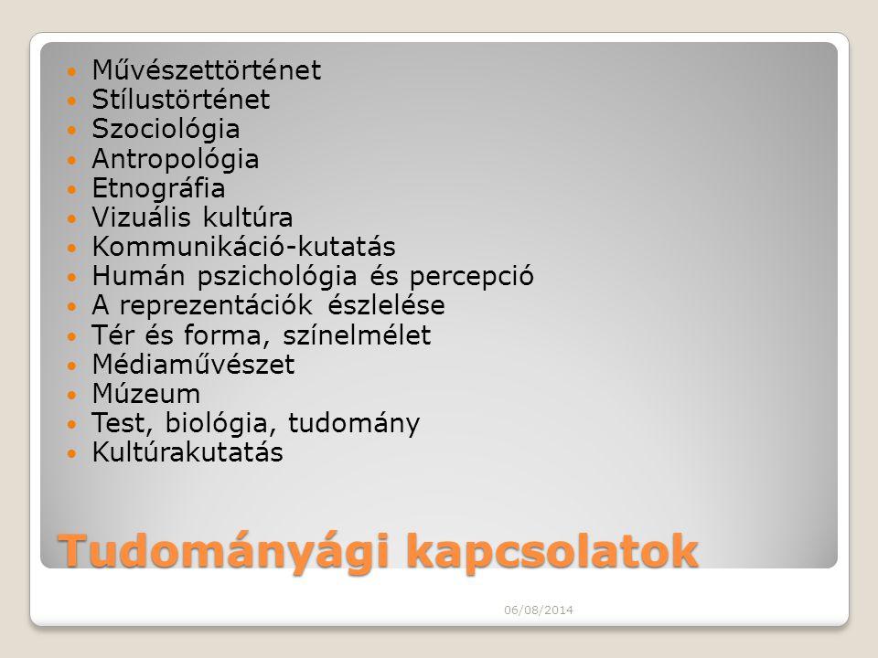 Tudományági kapcsolatok Művészettörténet Stílustörténet Szociológia Antropológia Etnográfia Vizuális kultúra Kommunikáció-kutatás Humán pszichológia é