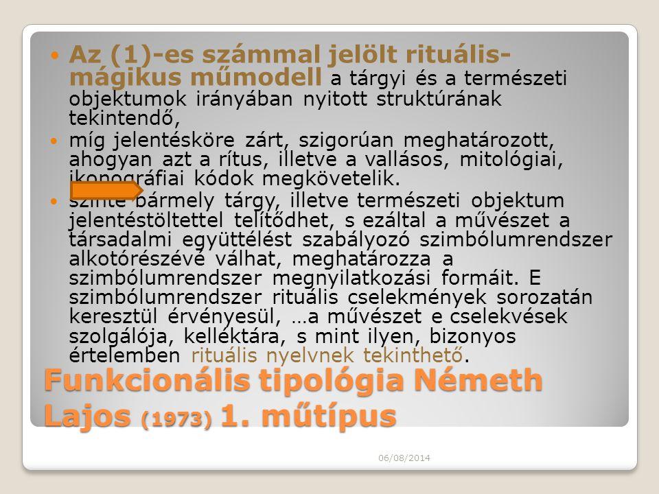 Funkcionális tipológia Németh Lajos (1973) 1. műtípus Az (1)-es számmal jelölt rituális- mágikus műmodell a tárgyi és a természeti objektumok irányába