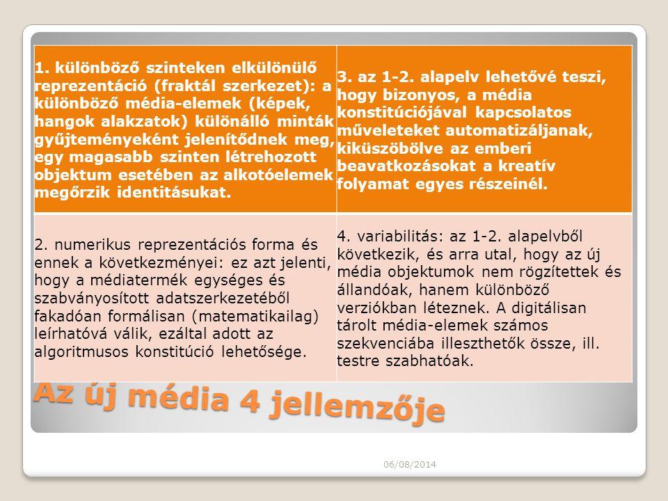 Az új média 4 jellemzője 1. különböző szinteken elkülönülő reprezentáció (fraktál szerkezet): a különböző média-elemek (képek, hangok alakzatok) külön