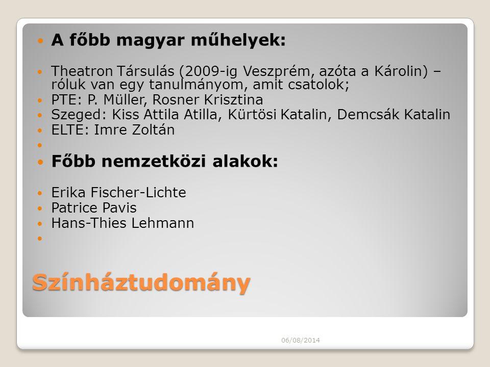 Színháztudomány A főbb magyar műhelyek: Theatron Társulás (2009-ig Veszprém, azóta a Károlin) – róluk van egy tanulmányom, amit csatolok; PTE: P. Müll