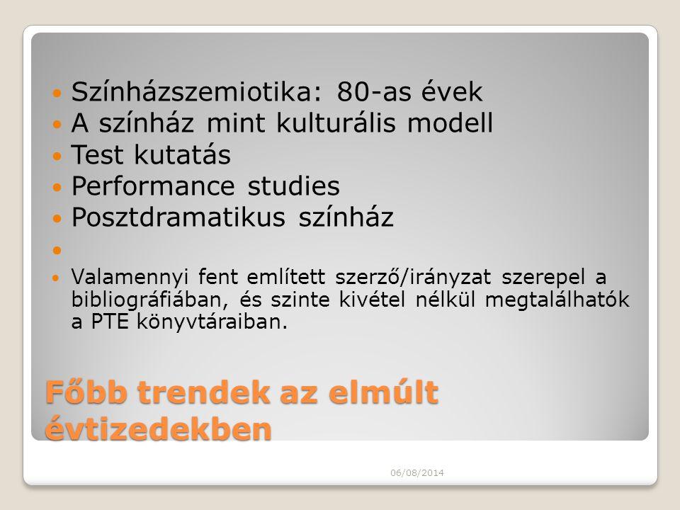 Főbb trendek az elmúlt évtizedekben Színházszemiotika: 80-as évek A színház mint kulturális modell Test kutatás Performance studies Posztdramatikus sz