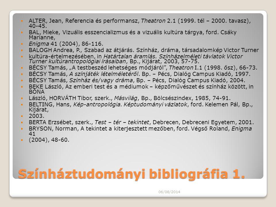 Színháztudományi bibliográfia 1. ALTER, Jean, Referencia és performansz, Theatron 2.1 (1999. tél – 2000. tavasz), 40-45. BAL, Mieke, Vizuális esszenci