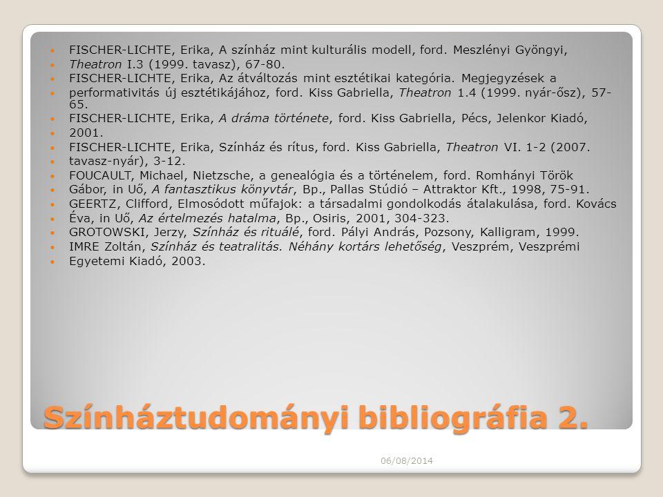Színháztudományi bibliográfia 2. FISCHER-LICHTE, Erika, A színház mint kulturális modell, ford. Meszlényi Gyöngyi, Theatron I.3 (1999. tavasz), 67-80.