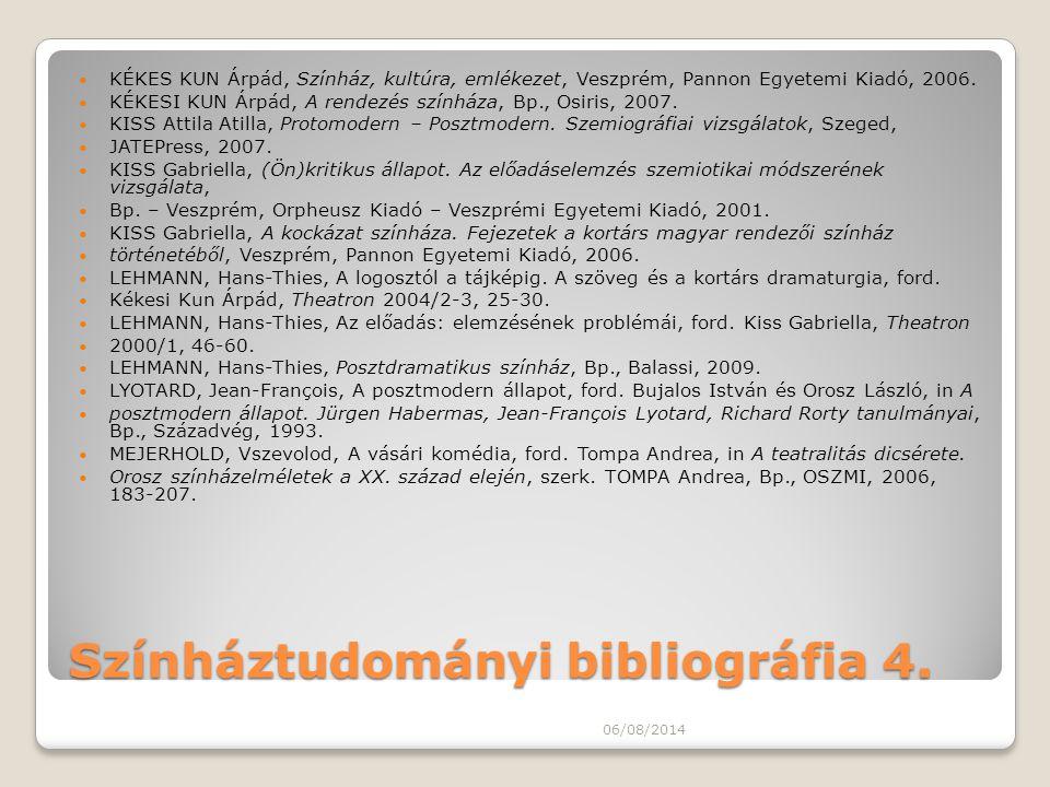 Színháztudományi bibliográfia 4. KÉKES KUN Árpád, Színház, kultúra, emlékezet, Veszprém, Pannon Egyetemi Kiadó, 2006. KÉKESI KUN Árpád, A rendezés szí