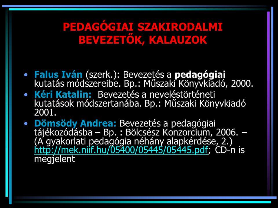 PEDAGÓGIAI SZAKIRODALMI BEVEZETŐK, KALAUZOK Falus Iván (szerk.): Bevezetés a pedagógiai kutatás módszereibe. Bp.: Műszaki Könyvkiadó, 2000. Kéri Katal