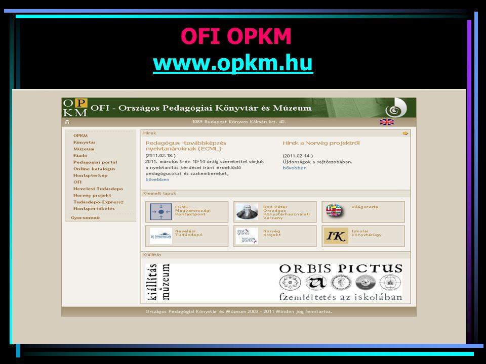 OFI OPKM www.opkm.hu www.opkm.hu