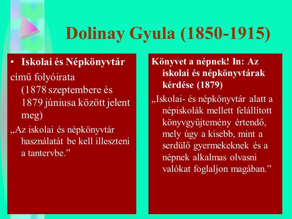 """Dolinay Gyula (1850-1915) Iskolai és Népkönyvtár című folyóirata (1878 szeptembere és 1879 júniusa között jelent meg) """"Az iskolai és népkönyvtár haszn"""