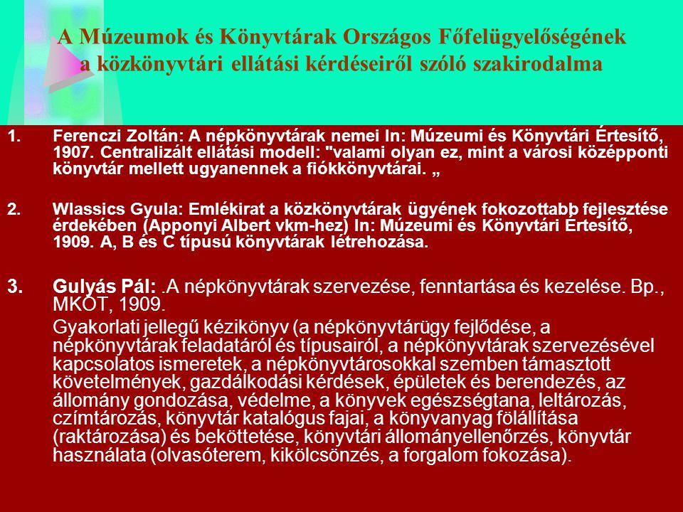 A Múzeumok és Könyvtárak Országos Főfelügyelőségének a közkönyvtári ellátási kérdéseiről szóló szakirodalma 1.Ferenczi Zoltán: A népkönyvtárak nemei I