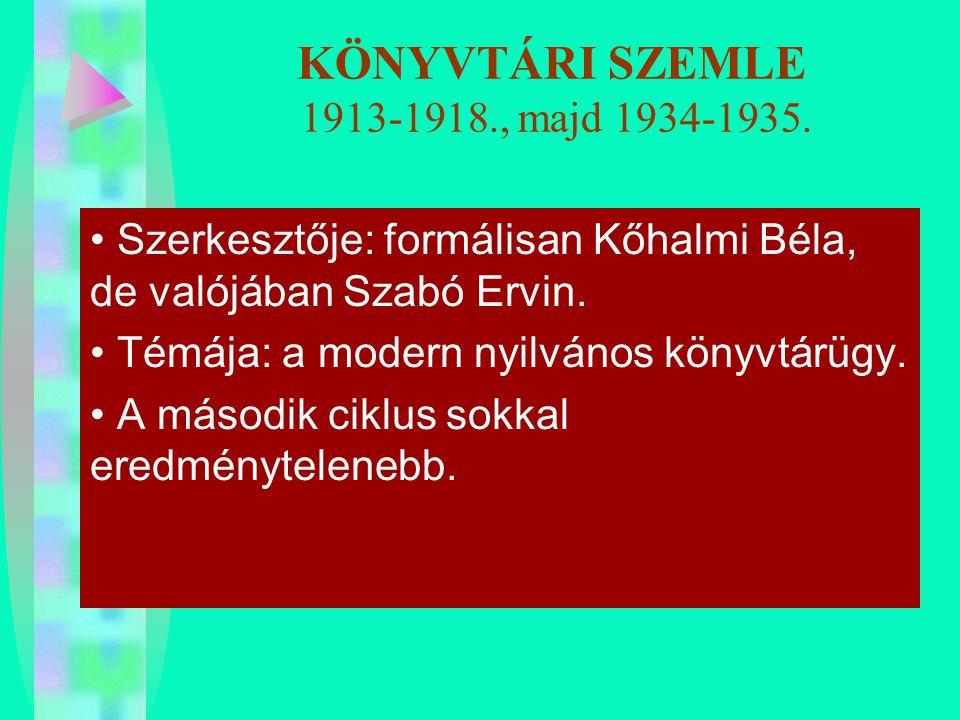 KÖNYVTÁRI SZEMLE 1913-1918., majd 1934-1935. Szerkesztője: formálisan Kőhalmi Béla, de valójában Szabó Ervin. Témája: a modern nyilvános könyvtárügy.