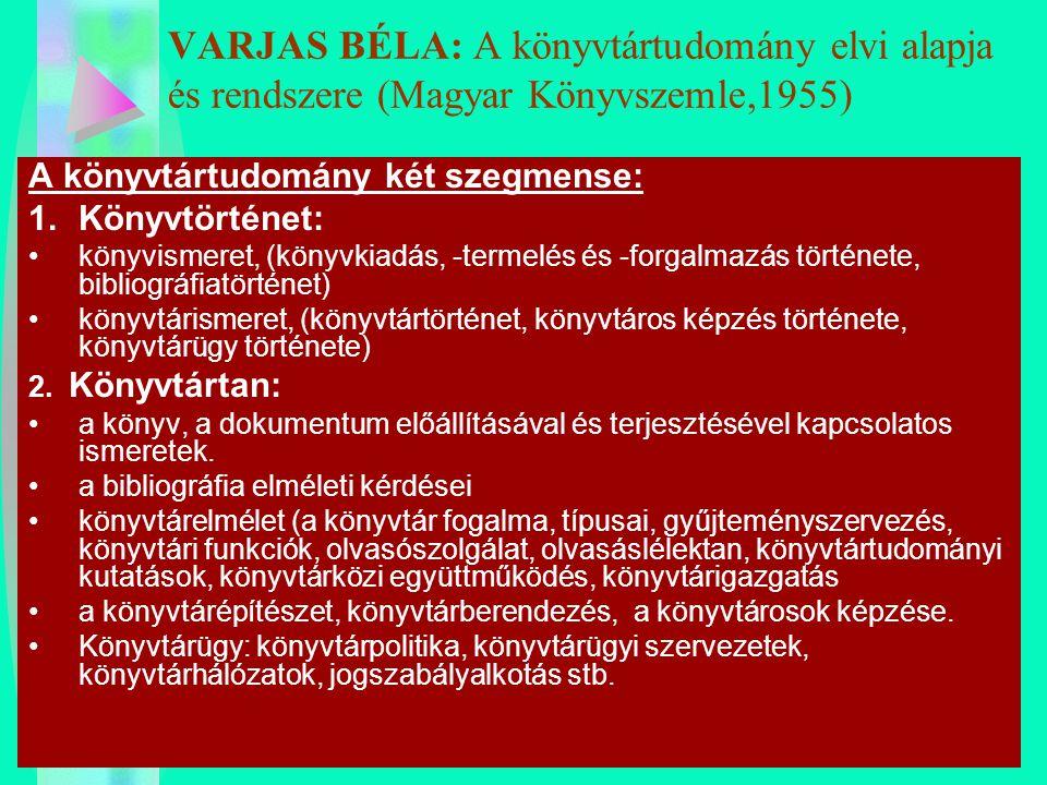 VARJAS BÉLA: A könyvtártudomány elvi alapja és rendszere (Magyar Könyvszemle,1955) A könyvtártudomány két szegmense: 1.Könyvtörténet: könyvismeret, (k