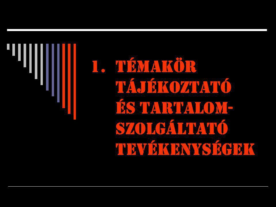1.Témakör TÁJÉKOZTATÓ ÉS TARTALOM- SZOLGÁLTATÓ TEVÉKENYSÉGEK
