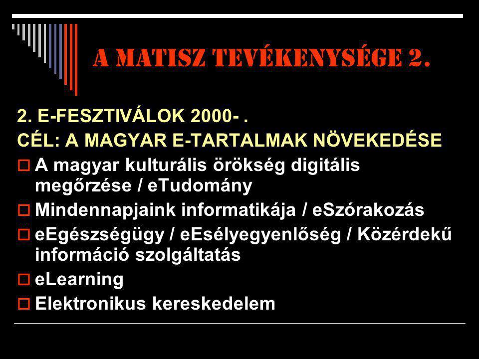 A matisz tevékenysége 2. 2. E-FESZTIVÁLOK 2000-. CÉL: A MAGYAR E-TARTALMAK NÖVEKEDÉSE  A magyar kulturális örökség digitális megőrzése / eTudomány 