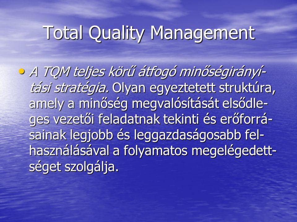 Total Quality Management A TQM teljes körű átfogó minőségirányí- tási stratégia.