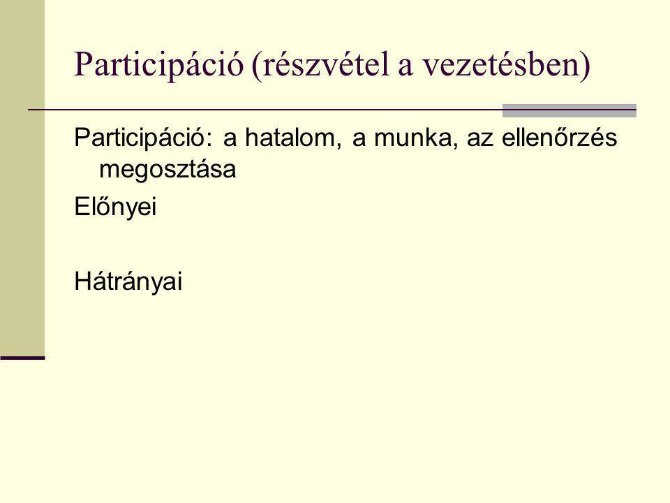 Participáció (részvétel a vezetésben) Participáció: a hatalom, a munka, az ellenőrzés megosztása Előnyei Hátrányai