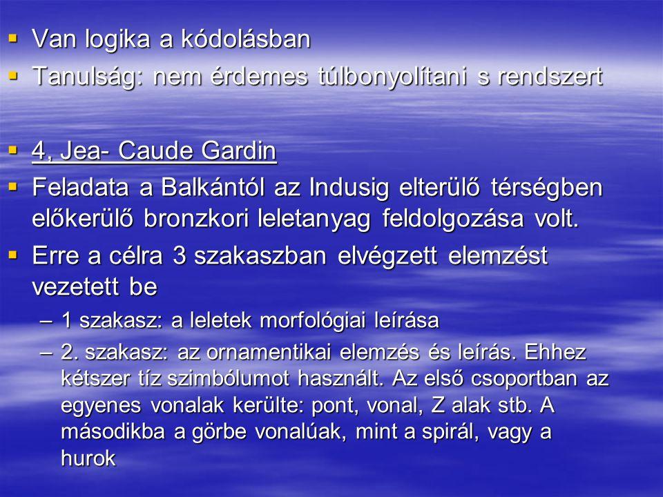  Van logika a kódolásban  Tanulság: nem érdemes túlbonyolítani s rendszert  4, Jea- Caude Gardin  Feladata a Balkántól az Indusig elterülő térségb