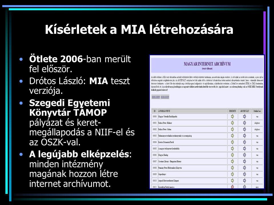 Kísérletek a MIA létrehozására Ötlete 2006-ban merült fel először.