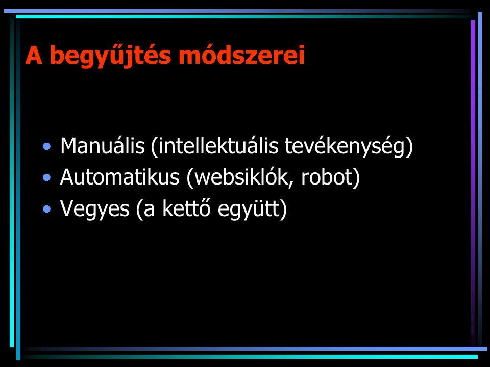 A begyűjtés módszerei Manuális (intellektuális tevékenység) Automatikus (websiklók, robot) Vegyes (a kettő együtt)