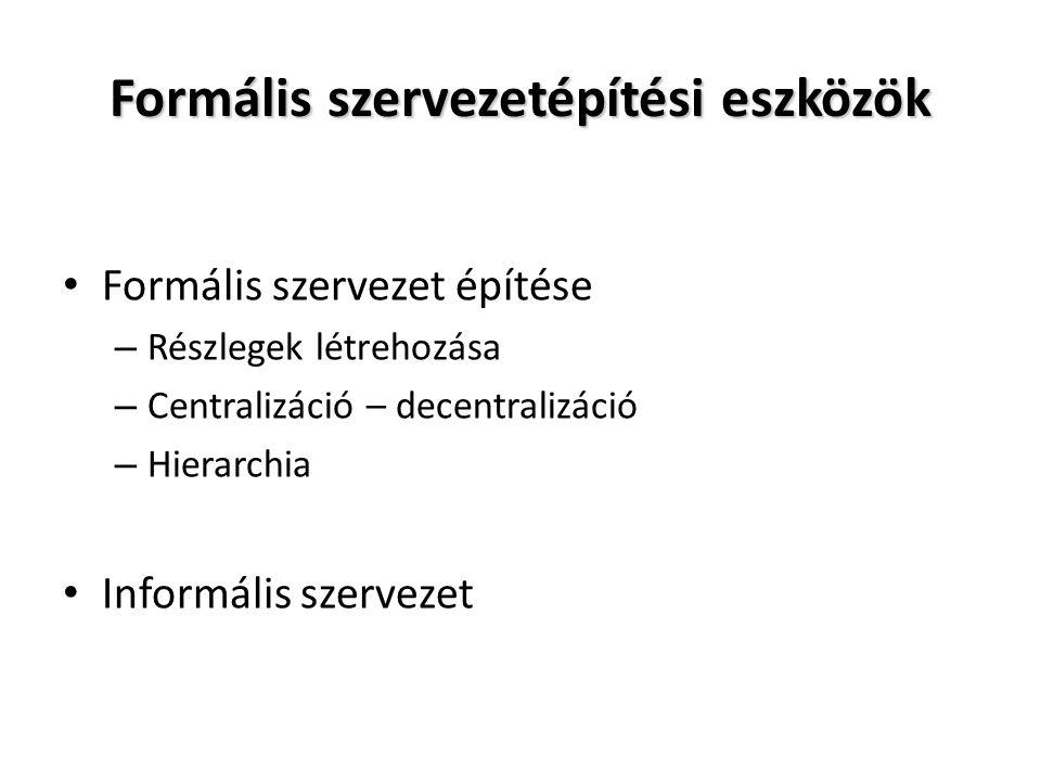 Formális szervezetépítési eszközök Formális szervezet építése – Részlegek létrehozása – Centralizáció – decentralizáció – Hierarchia Informális szerve