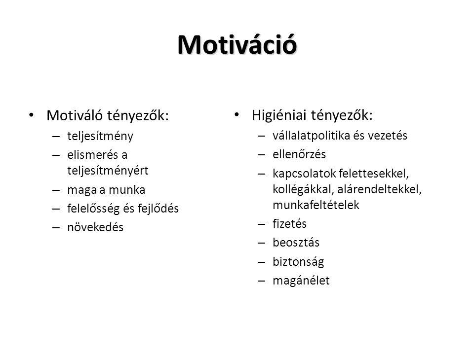 Motiváció Motiváló tényezők: – teljesítmény – elismerés a teljesítményért – maga a munka – felelősség és fejlődés – növekedés Higiéniai tényezők: – vá