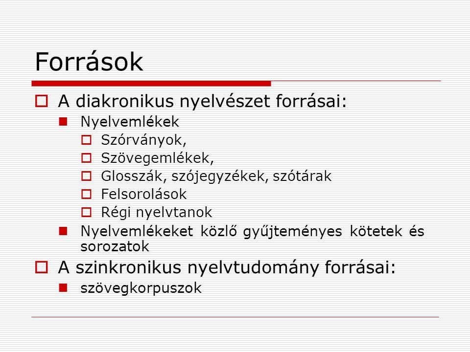 Források  A diakronikus nyelvészet forrásai: Nyelvemlékek  Szórványok,  Szövegemlékek,  Glosszák, szójegyzékek, szótárak  Felsorolások  Régi nye