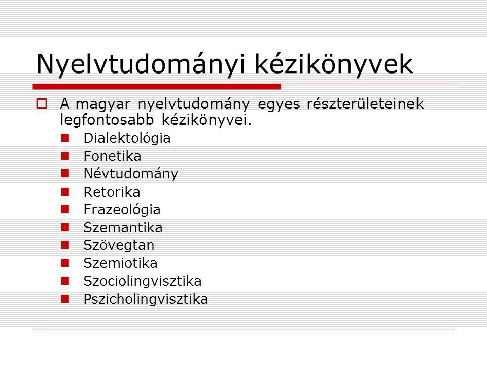Nyelvtudományi kézikönyvek  A magyar nyelvtudomány egyes részterületeinek legfontosabb kézikönyvei. Dialektológia Fonetika Névtudomány Retorika Fraze